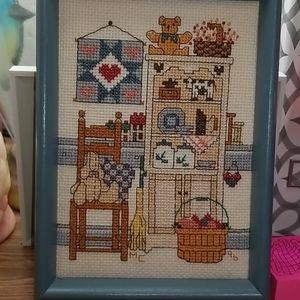Vtg Counted Cross Stitch Framed